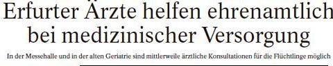 Erfurter Ärzte helfen ehrenamtlich bei medizinischer Versorgung