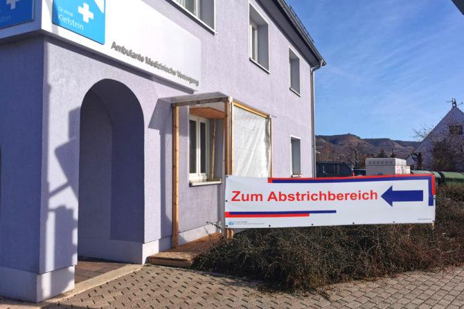 COVID-19 Abstrichstelle am Standort Jena, An der Ringwiese über Seitenfenster zu erreichen